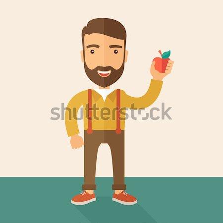 Zdjęcia stock: Szczęśliwy · człowiek · czerwone · jabłko · biznesmen