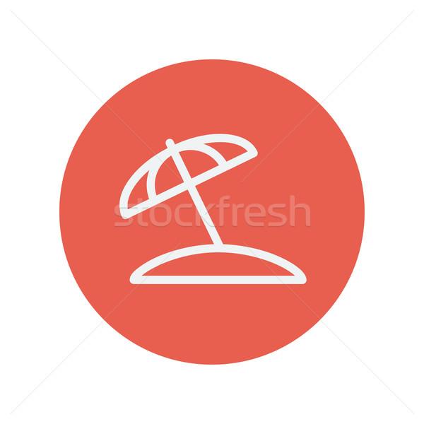 Parasol dun lijn icon web mobiele Stockfoto © RAStudio