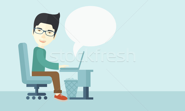 Chinese man sitting infront his computer Stock photo © RAStudio