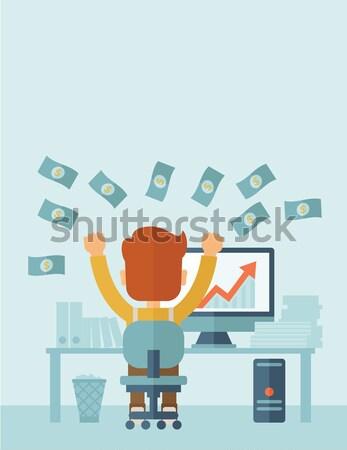 üzletember szemben hátrafelé laptop kaukázusi ül Stock fotó © RAStudio