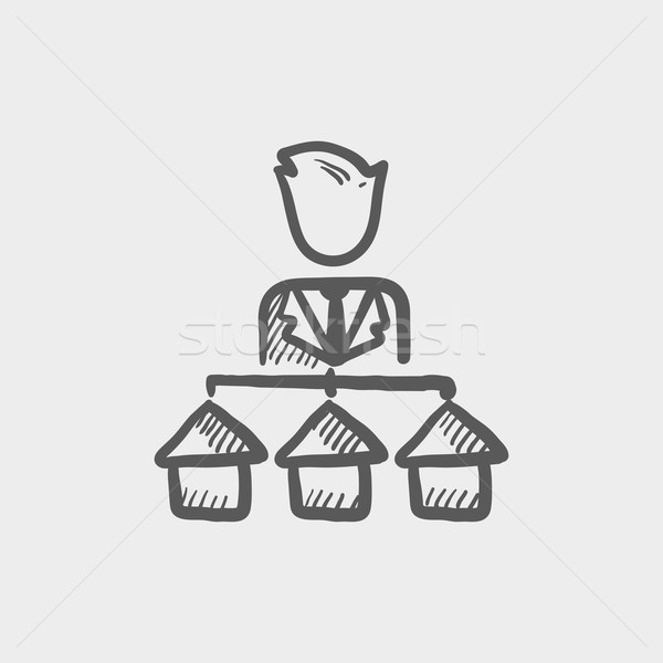 Stock photo: Agent with three houses for sale sketch icon