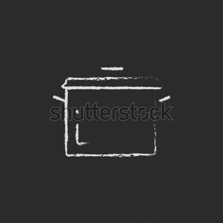 кастрюля икона мелом рисованной доске Сток-фото © RAStudio
