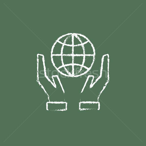 Stok fotoğraf: Iki · eller · dünya · ikon
