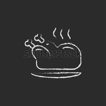 Sült egész tyúk ikon rajzolt kréta Stock fotó © RAStudio