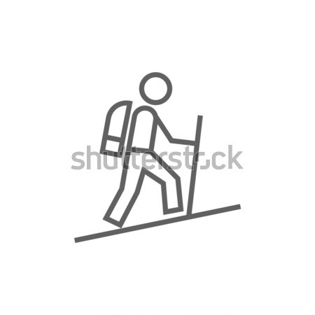 Man carrying shopping bags icon drawn in chalk. Stock photo © RAStudio