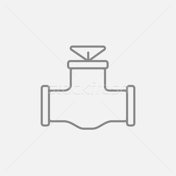 газ трубы клапан линия икона веб Сток-фото © RAStudio