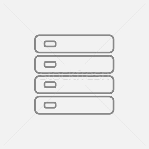 Stock fotó: Számítógép · szerver · vonal · ikon · háló · mobil