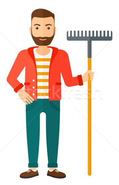 Uomo piedi rastrello barba vettore Foto d'archivio © RAStudio