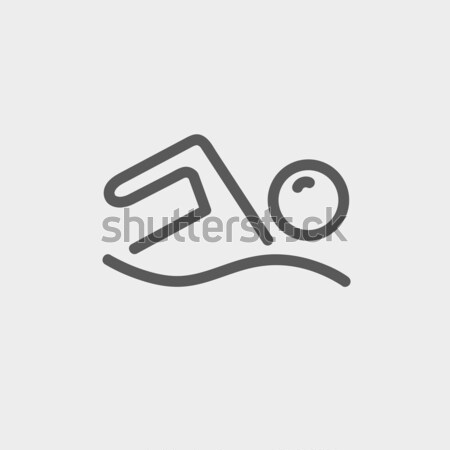 Nuotatore line icona web mobile infografica Foto d'archivio © RAStudio