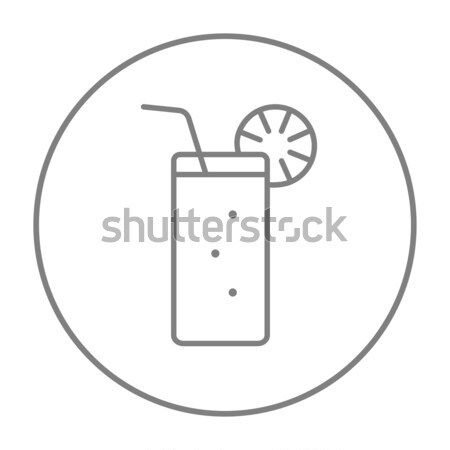 Glass with drinking straw line icon. Stock photo © RAStudio