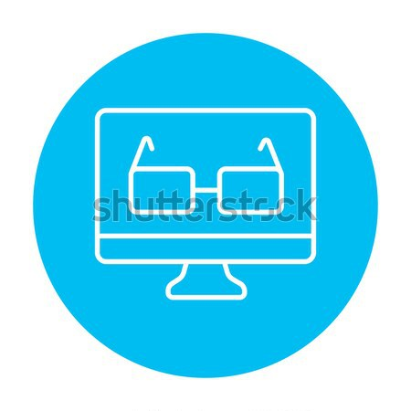 Glasses on computer monitor line icon. Stock photo © RAStudio