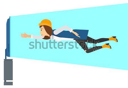 Mulher sofrimento tv voador tela Foto stock © RAStudio