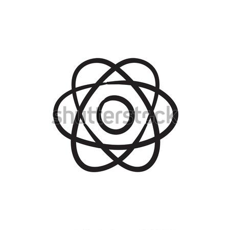 átomo linha ícone teia móvel infográficos Foto stock © RAStudio