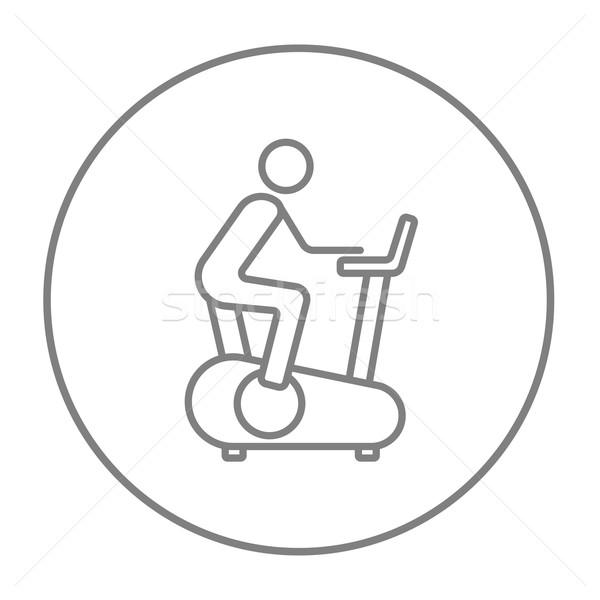 ストックフォト: 男 · 訓練 · 行使 · 自転車 · 行 · アイコン