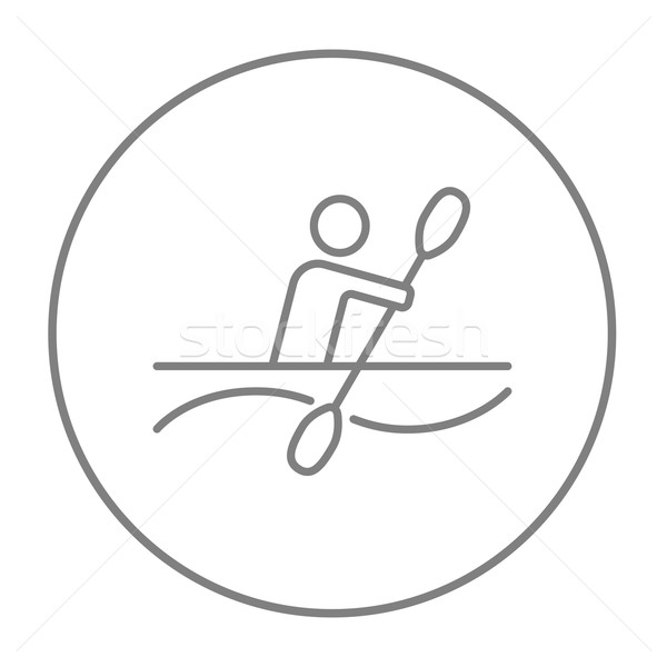 Man kajakken lijn icon web mobiele Stockfoto © RAStudio
