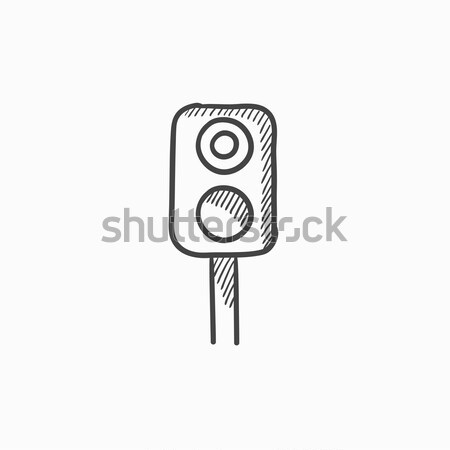 Railway traffic light line icon. Stock photo © RAStudio