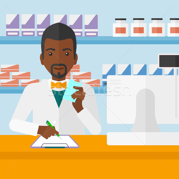 Foto stock: Farmacêutico · homem · prescrição · mão