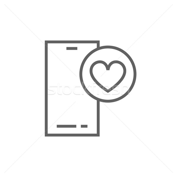 Smartphone with heart sign line icon. Stock photo © RAStudio