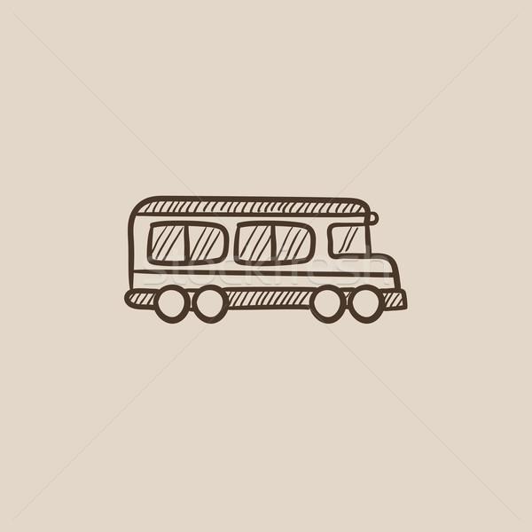Iskolabusz rajz ikon háló mobil infografika Stock fotó © RAStudio