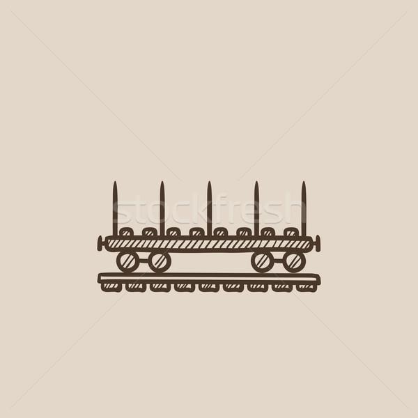 Teher vagon rajz ikon háló mobil Stock fotó © RAStudio