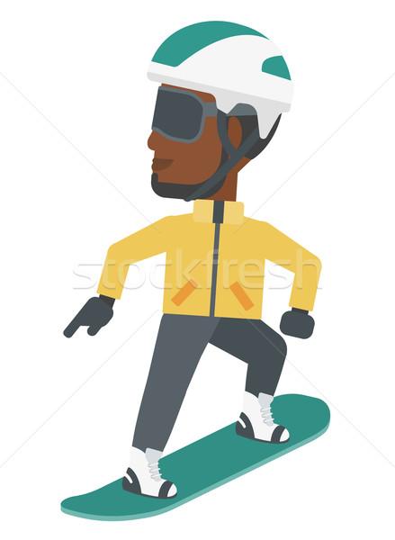 Jonge man snowboarden man vector ontwerp illustratie Stockfoto © RAStudio
