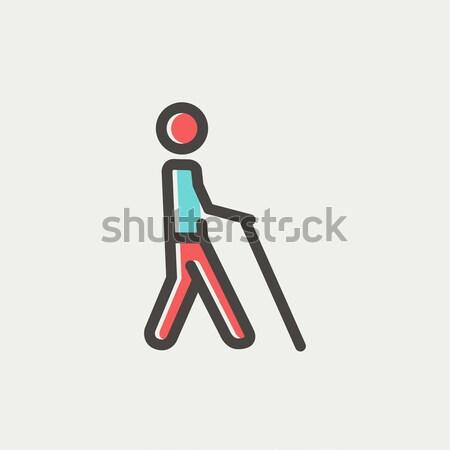 Blinde man stick lijn icon lopen Stockfoto © RAStudio