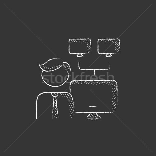 Rede administrador giz ícone homem Foto stock © RAStudio