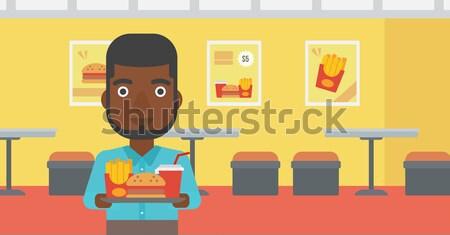 Mulher fast-food bandeja completo Foto stock © RAStudio