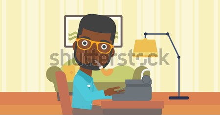Reporter working at typewriter. Stock photo © RAStudio