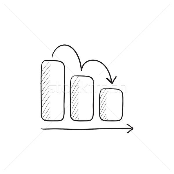 Staafdiagram beneden schets icon vector geïsoleerd Stockfoto © RAStudio