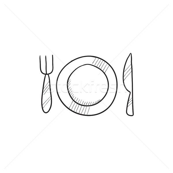 Plaat bestek schets icon vector geïsoleerd Stockfoto © RAStudio