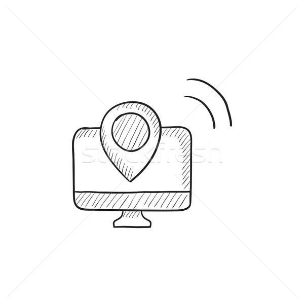 Nawigacja szkic ikona wektora odizolowany Zdjęcia stock © RAStudio