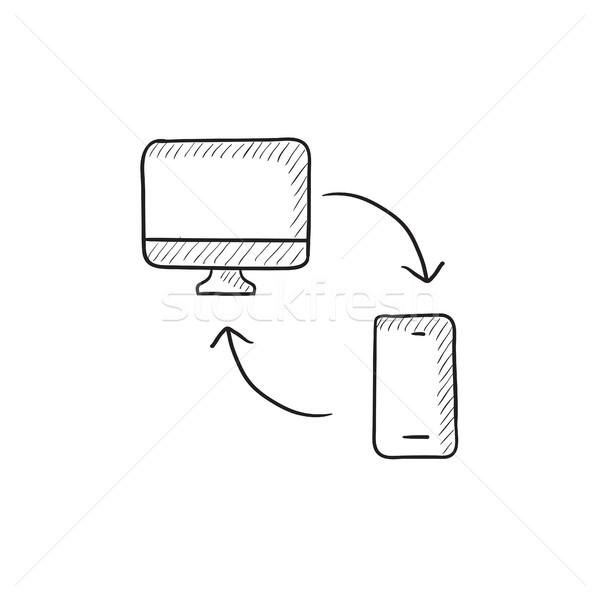 Synchronization computer with phone sketch icon. Stock photo © RAStudio
