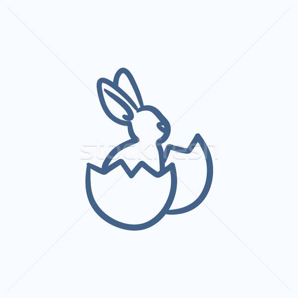 Conejo de Pascua sesión huevo Shell boceto icono Foto stock © RAStudio