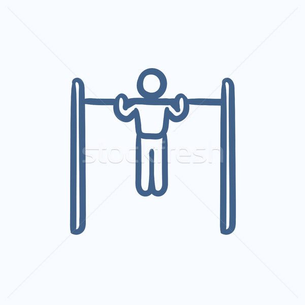 Gymnast exercising on bar sketch icon. Stock photo © RAStudio