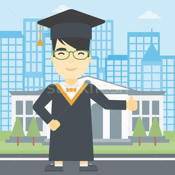Graduate giving thumb up vector illustration. Stock photo © RAStudio