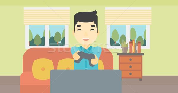 Photo stock: Homme · jouer · jeu · vidéo · asian · heureux · télévision