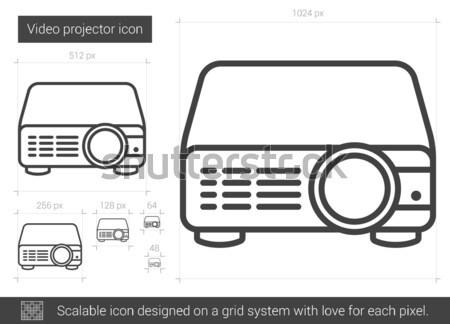 Videó projektor vonal ikon vektor izolált Stock fotó © RAStudio