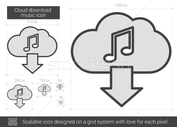 Wolke download Musik line Symbol Vektor Stock foto © RAStudio
