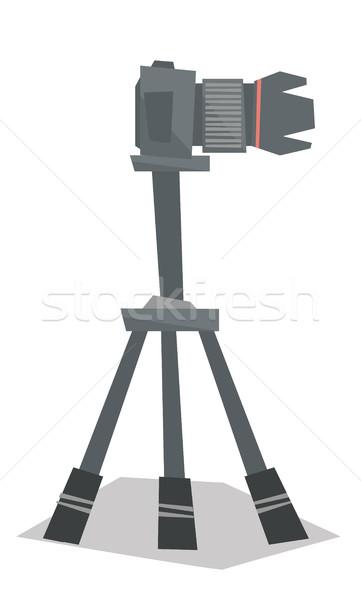 Stock photo: Photo camera on tripod vector illustration.
