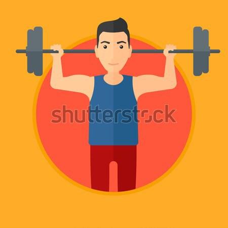 Man barbell zwaar gewicht sterke Stockfoto © RAStudio