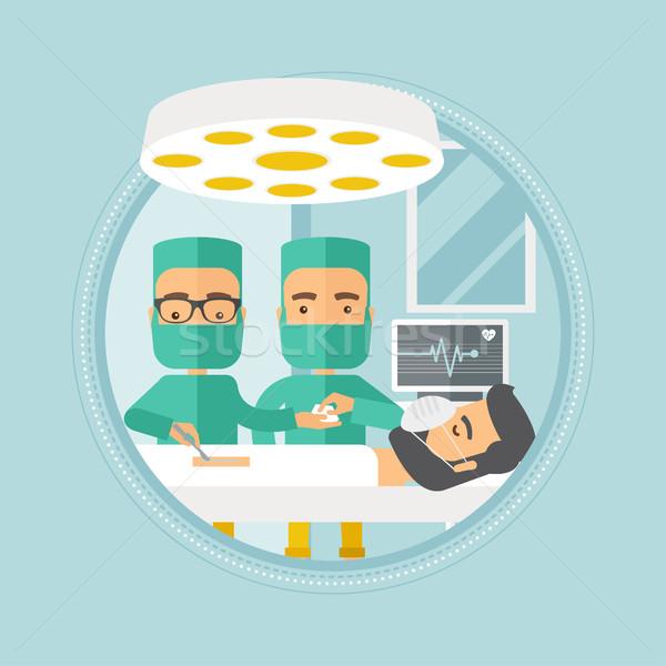 Two surgeons making operation vector illustration. Stock photo © RAStudio