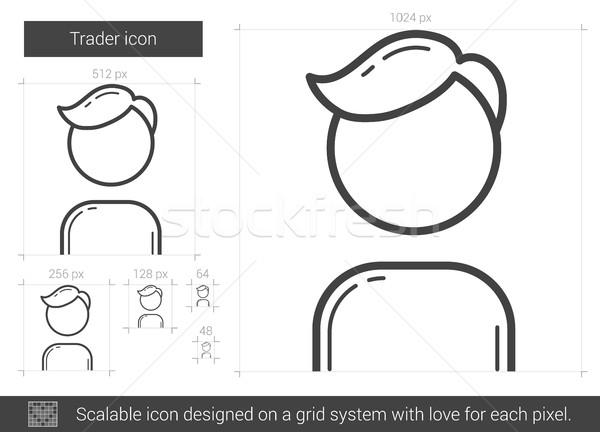 Comerciante línea icono vector aislado blanco Foto stock © RAStudio
