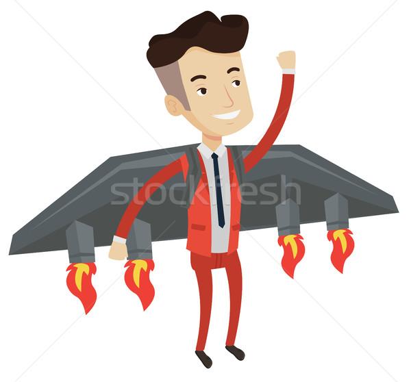 Stock fotó: Boldog · üzletember · repülés · rakéta · siker · üzlet