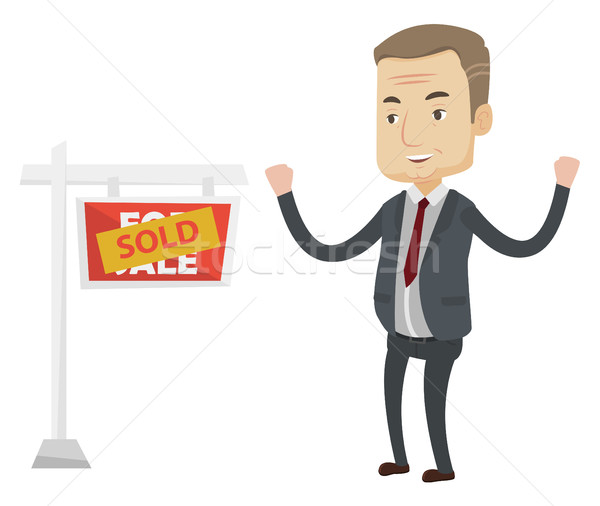 Stock fotó: Hatóanyag · áll · eladva · ingatlan · felirat · izgatott