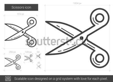 ножницы линия икона вектора изолированный белый Сток-фото © RAStudio
