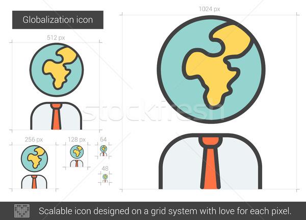 Globalizáció vonal ikon vektor izolált fehér Stock fotó © RAStudio