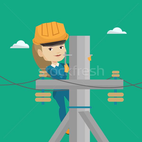 Elettricista lavoro elettrici potere polo Foto d'archivio © RAStudio
