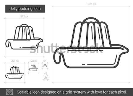 Zselé puding vonal ikon vektor izolált Stock fotó © RAStudio