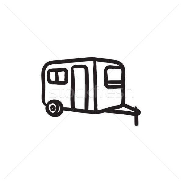 Caravan schets icon vector geïsoleerd Stockfoto © RAStudio